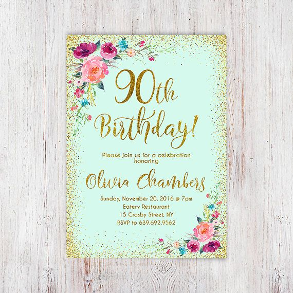 Floral Mint Women Birthday Invitation 90th