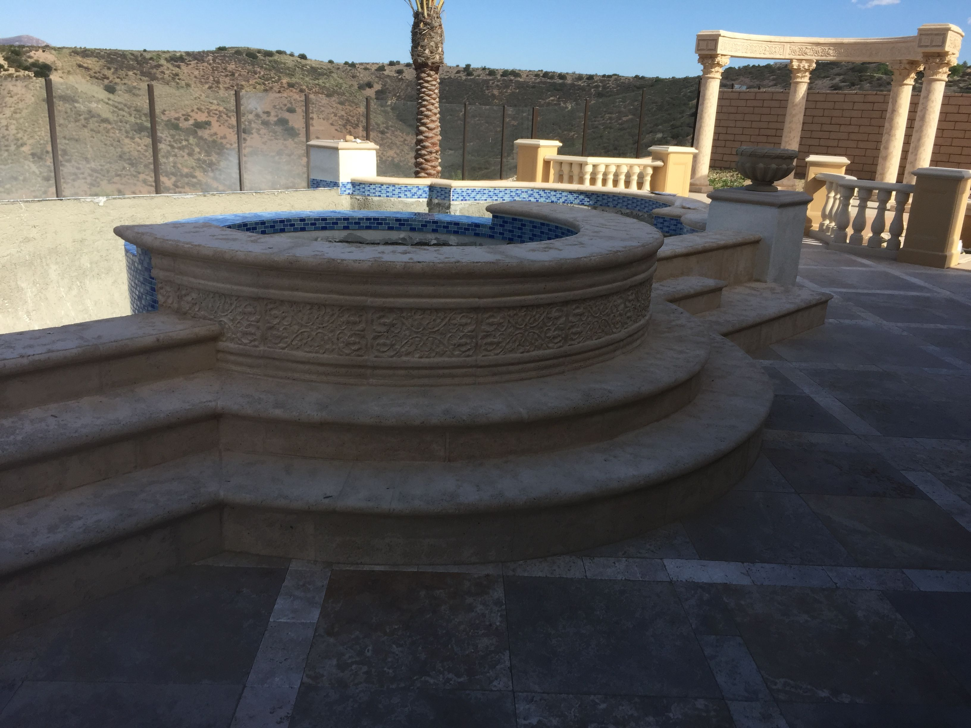 Lite Stone Concrete-Pool coping and stair treads.