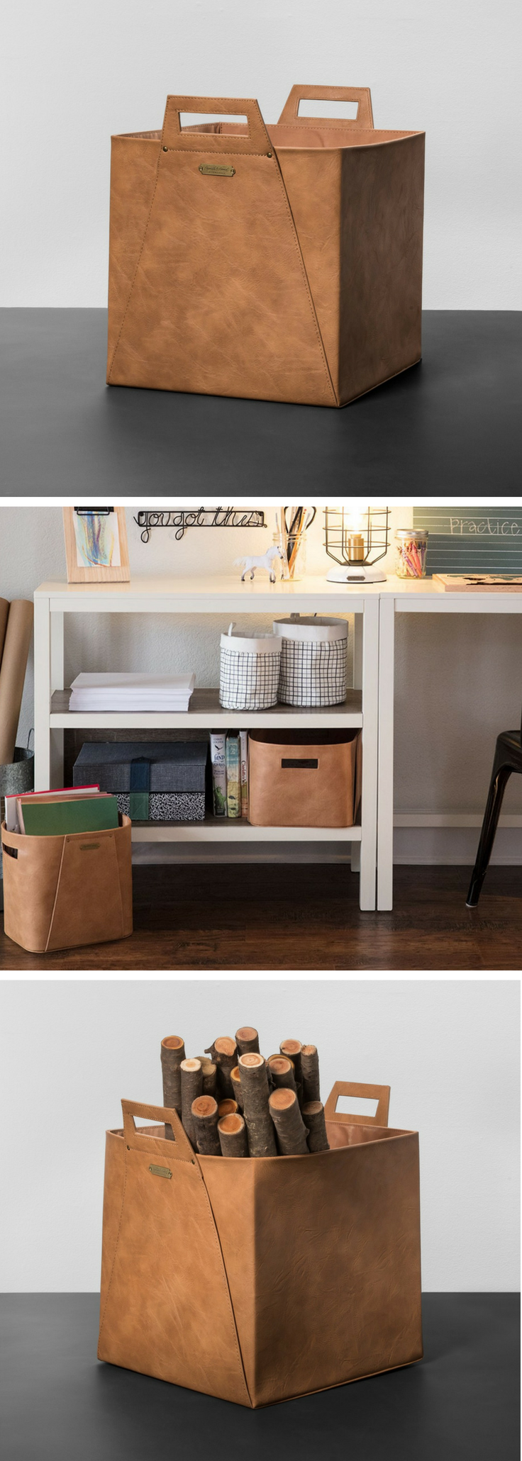 Hearth Hand With Magnolia By Joanna And Chip Gaines Leather Storage Bin Farmhouse Decor Storage Organiza Hearth Hand With Magnolia Storage Storage Bin