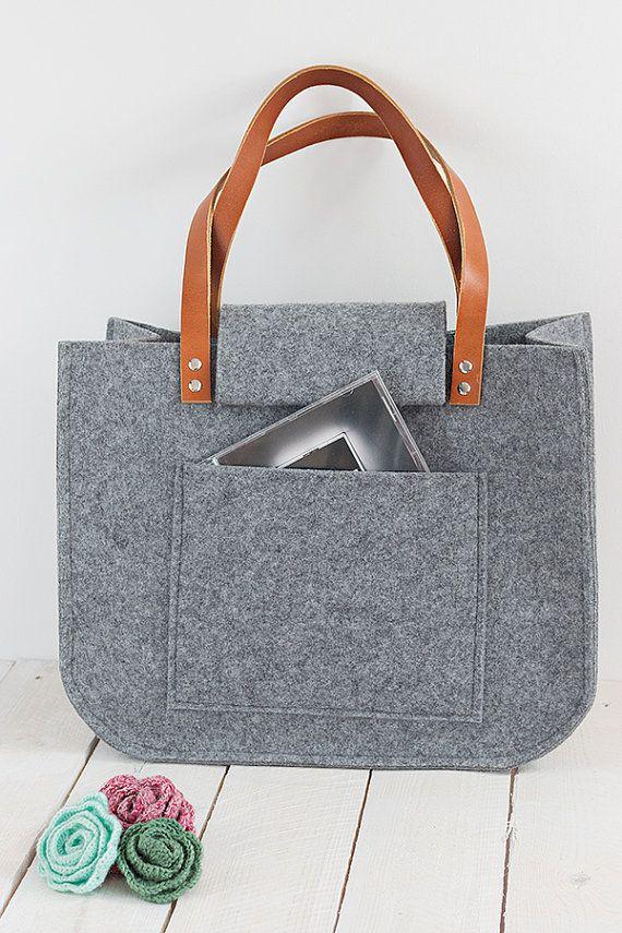 846b9ed6f5448 Grau Filz Tasche Tasche groß für shopping von feltallovercom