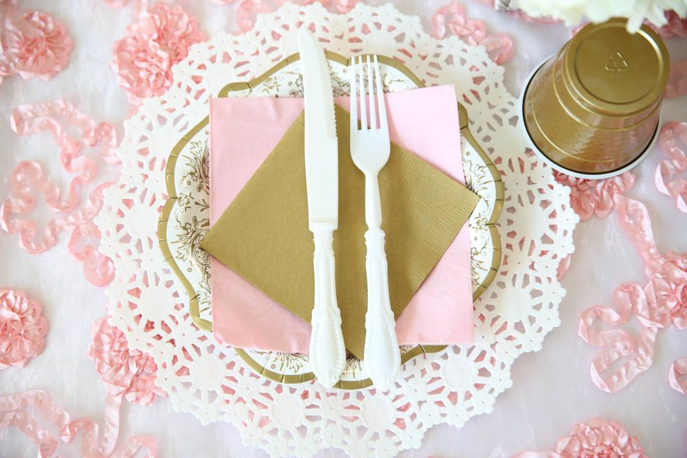 Ballet themed birthday party kid's table place setting- fancy and practical!! Viviana's Tu-Tu Cute Celebration- {A Ballerina Themed First Birthday Party}