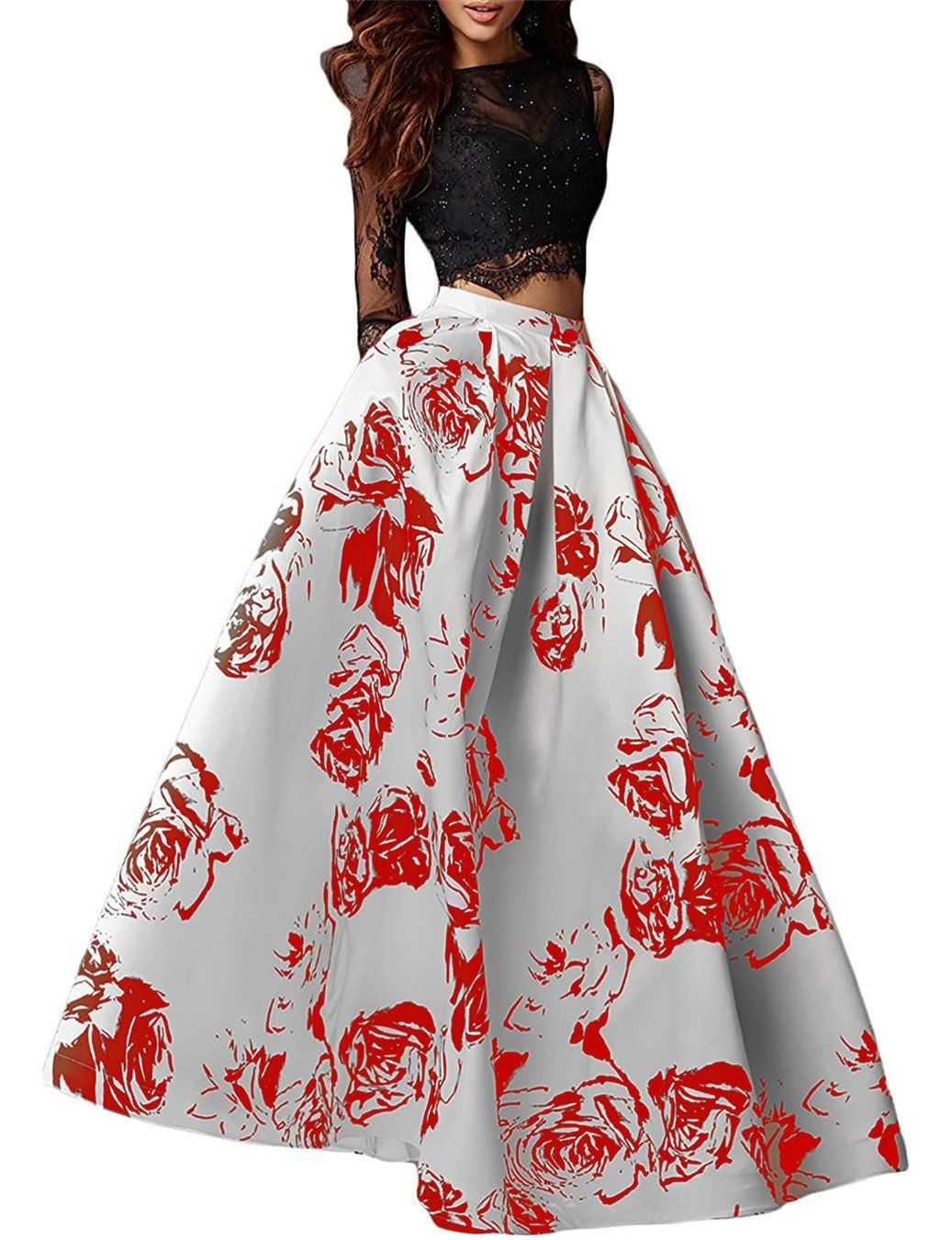 Lily wedding womens floral printed prom dresses long piece