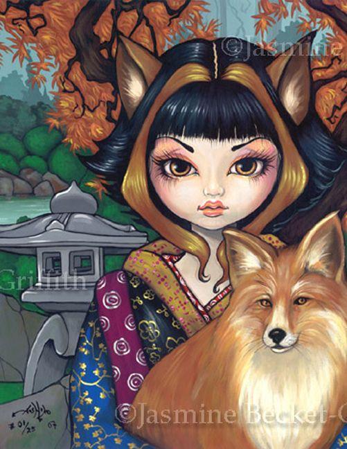 Kitsune Fox Fairy gothic fantasy Japan art Jasmine Becket-Griffith CANVAS PRINT