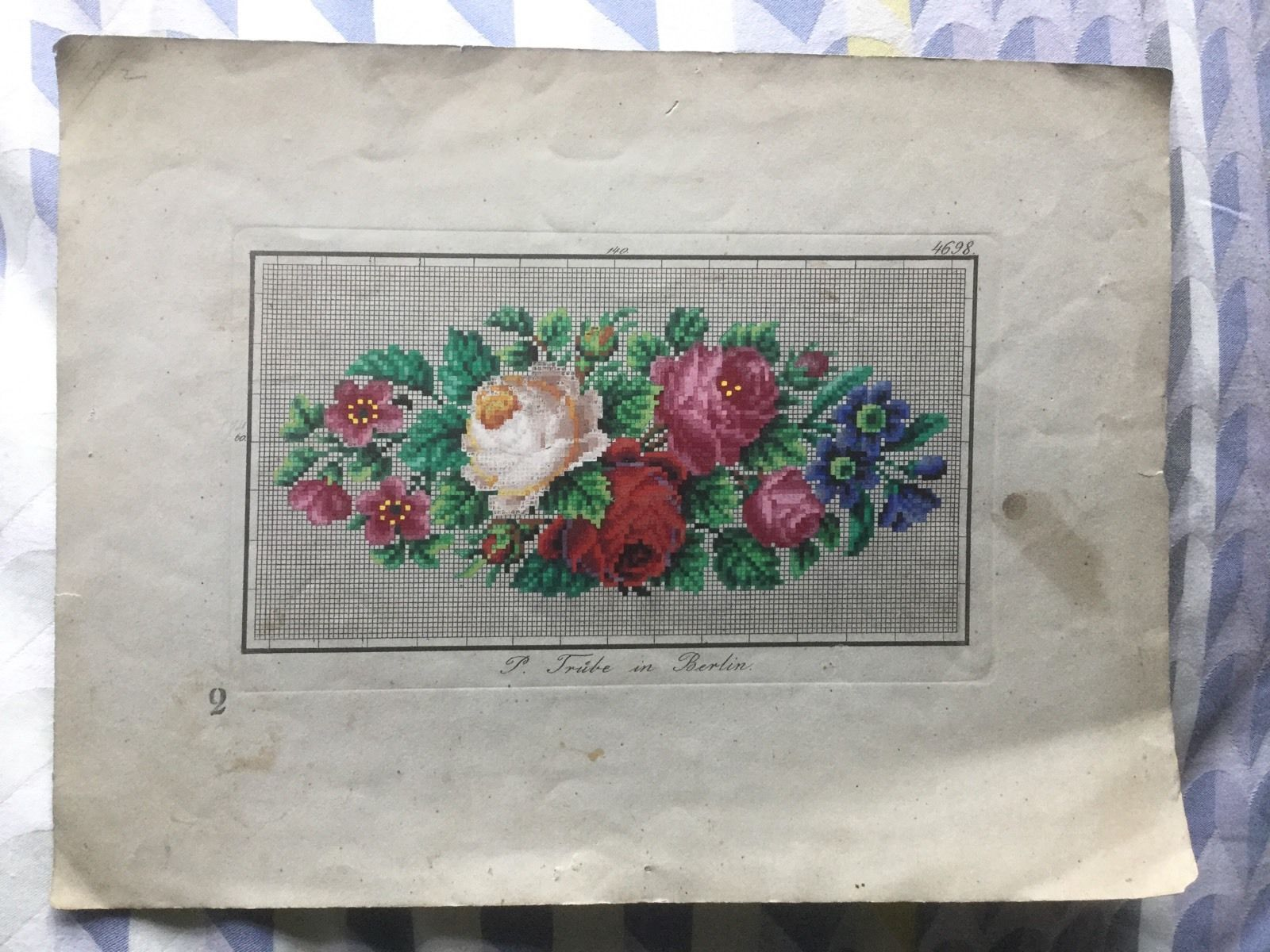 Antique Berlin Woolwork Hand Painted Chart Floral (2