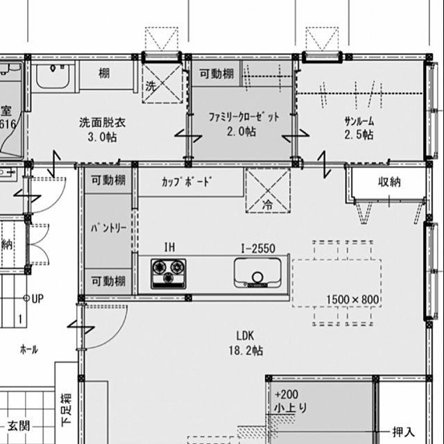 部屋全体 間取図 サンルーム 間取り 動線 などのインテリア実例