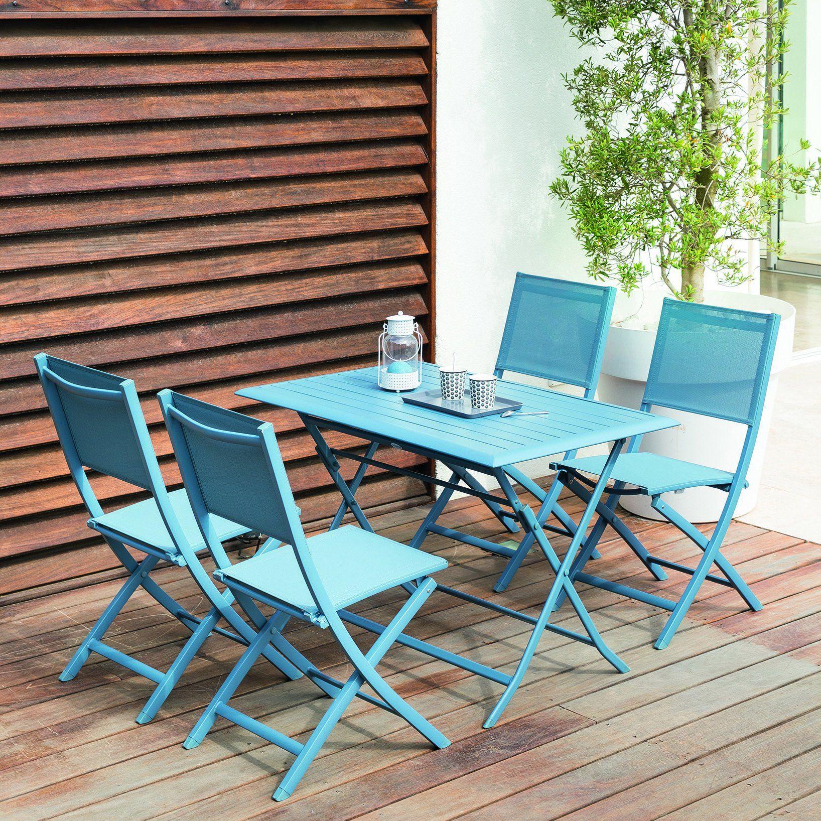 Table de jardin bleu turquoise pour 4 personnes | Table de ...