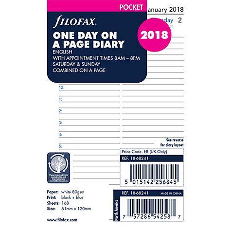 Filofax Day Per Page 2018 Diary Inserts, Pocket Filofax, Calendar