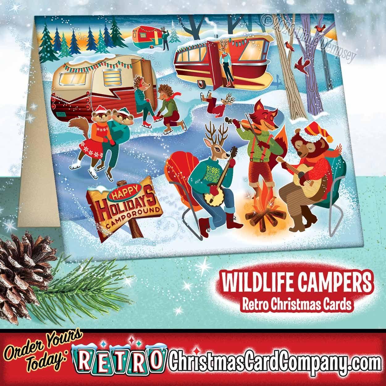 Wildlife Christmas Cards 2020 Wildlife Campers Retro Christmas Cards in 2020 | Retro christmas