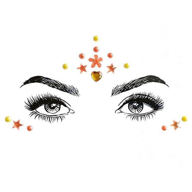 Strass Juwelen selbstklebende Kristall Augenbrauen Make Up Gesicht Aufkleber – 30 / Multi