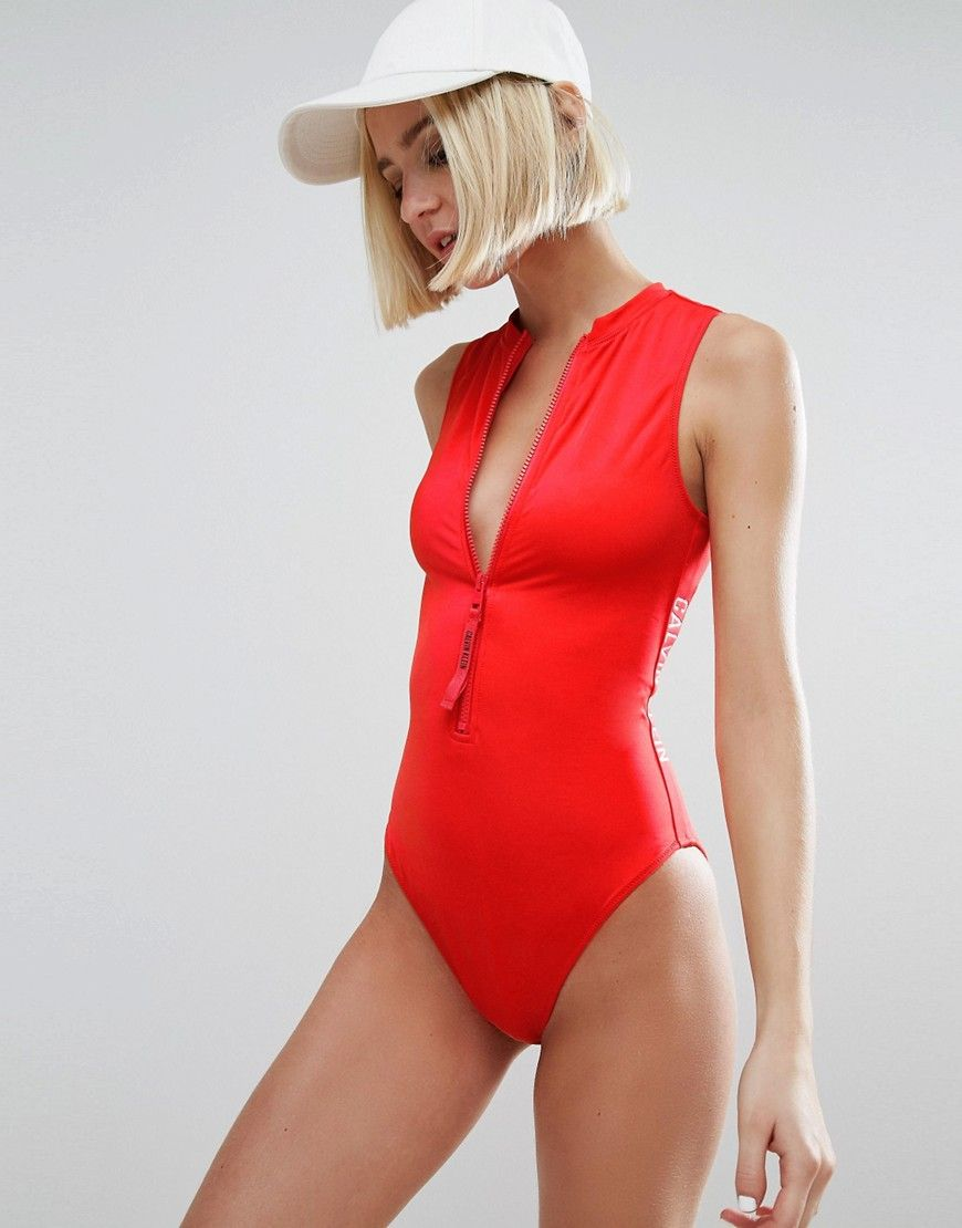 cad6421d0e5387 Calvin Klein Cheeky Vest Swimsuit - Red. Swimsuit by Calvin Klein, Plain  swim fabric, High neck, Plunge zip front fastening, Print to side, Brief  cut, ...