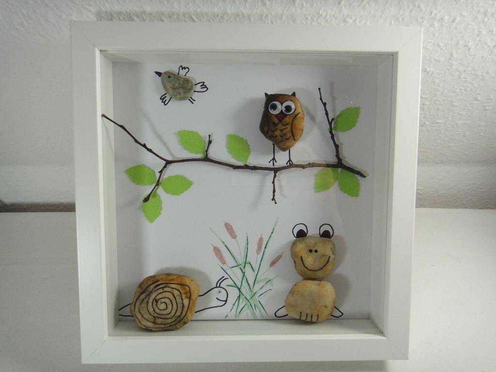 Diy Bild Aus Steinen Eule Frosch Schnecke Und Vogel Basteln