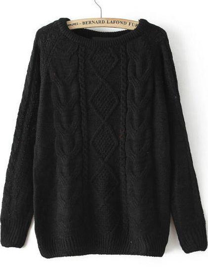 ae1da4a914 Cable Knit Loose Black Sweater