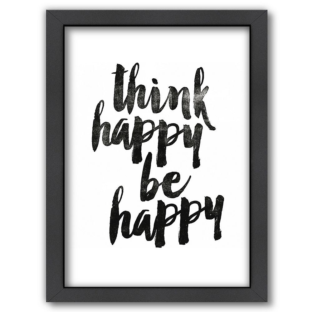 Americanflat uuthink happy be happyuu framed wall art pinterest
