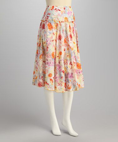 Take a look at this Red Floral Skirt by Papillon Imports on #zulily today!