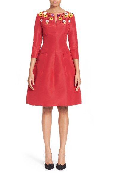 Oscar de la Renta Floral Embellished Silk Faille Dress available at #Nordstrom