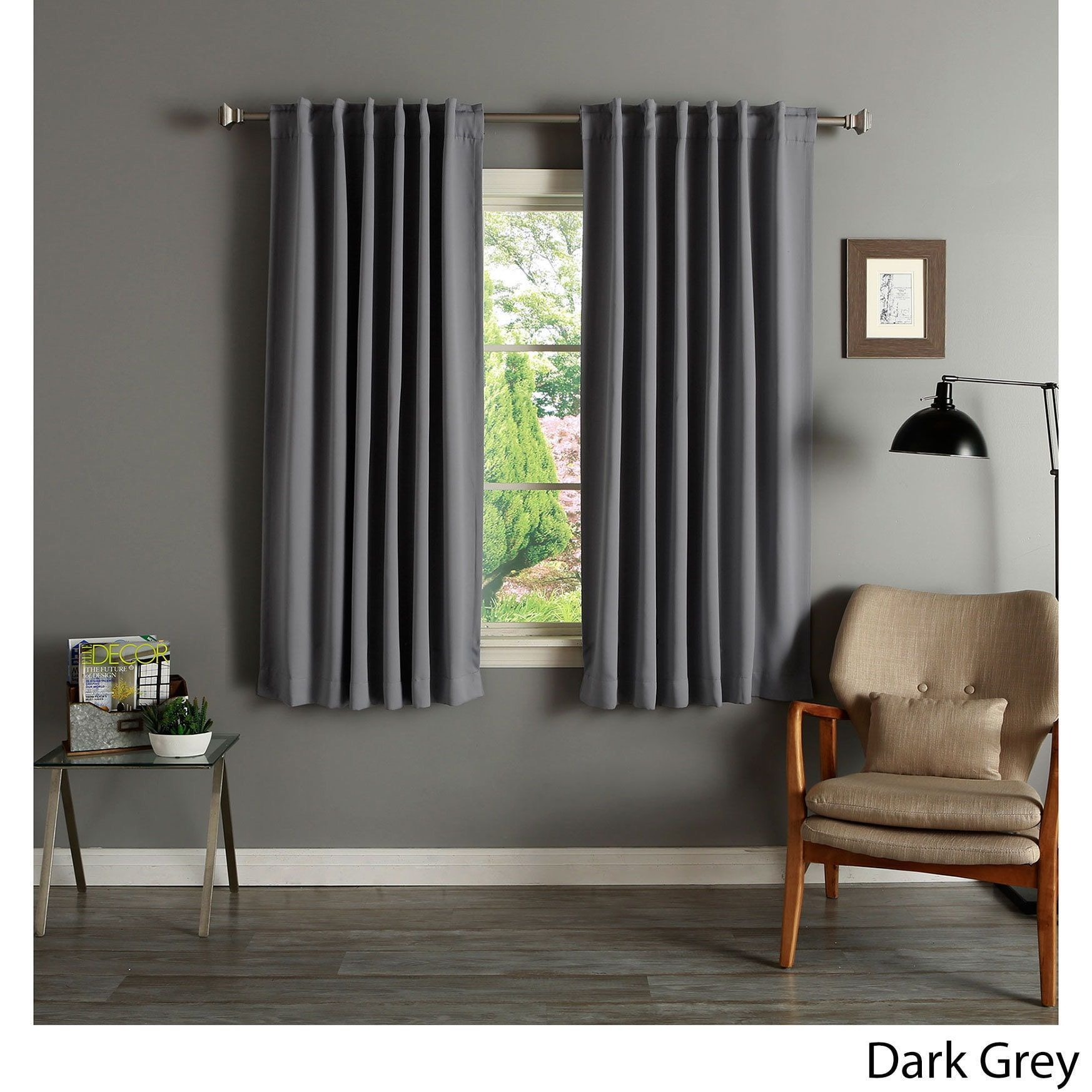 Aurora Home Solid Insulated Thermal 63 Inch Blackout Curtain Panel Pair  (Dark Grey)