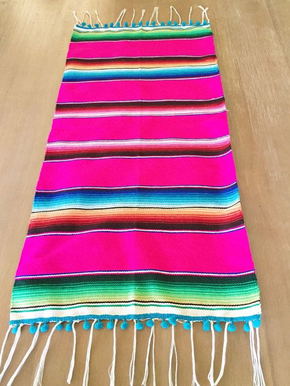 Mexican Serape Table Runner Super Cute For Your Next Fiesta Southwestern Blanket Handmade In Mexico Dimensions 15 X 32 Hand Wash And Hang Dry