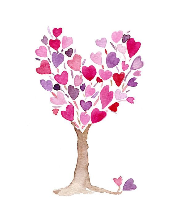 Photo of Pink purple Heart Tree art print, anniversary, valentine day art, birthday, mothers day, save the date, personalized, girls room decor