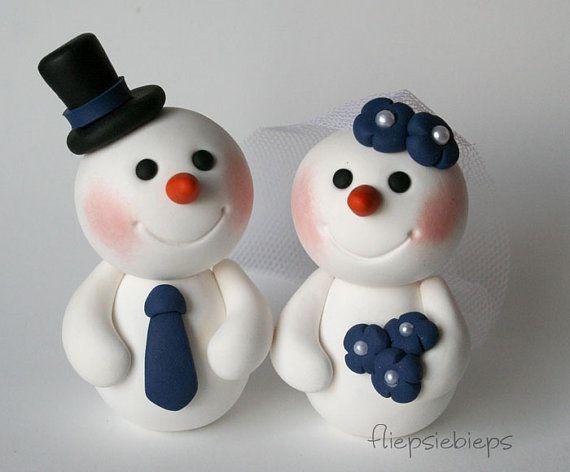 Custom Snowman Wedding Cake Topper #marsipanfigurerjul