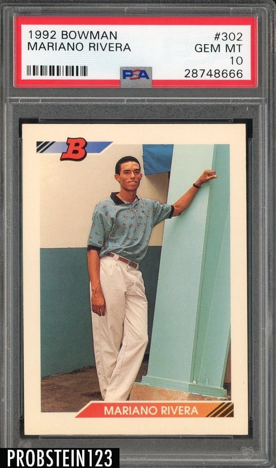 1992 bowman 302 mariano rivera yankees rc rookie psa 10