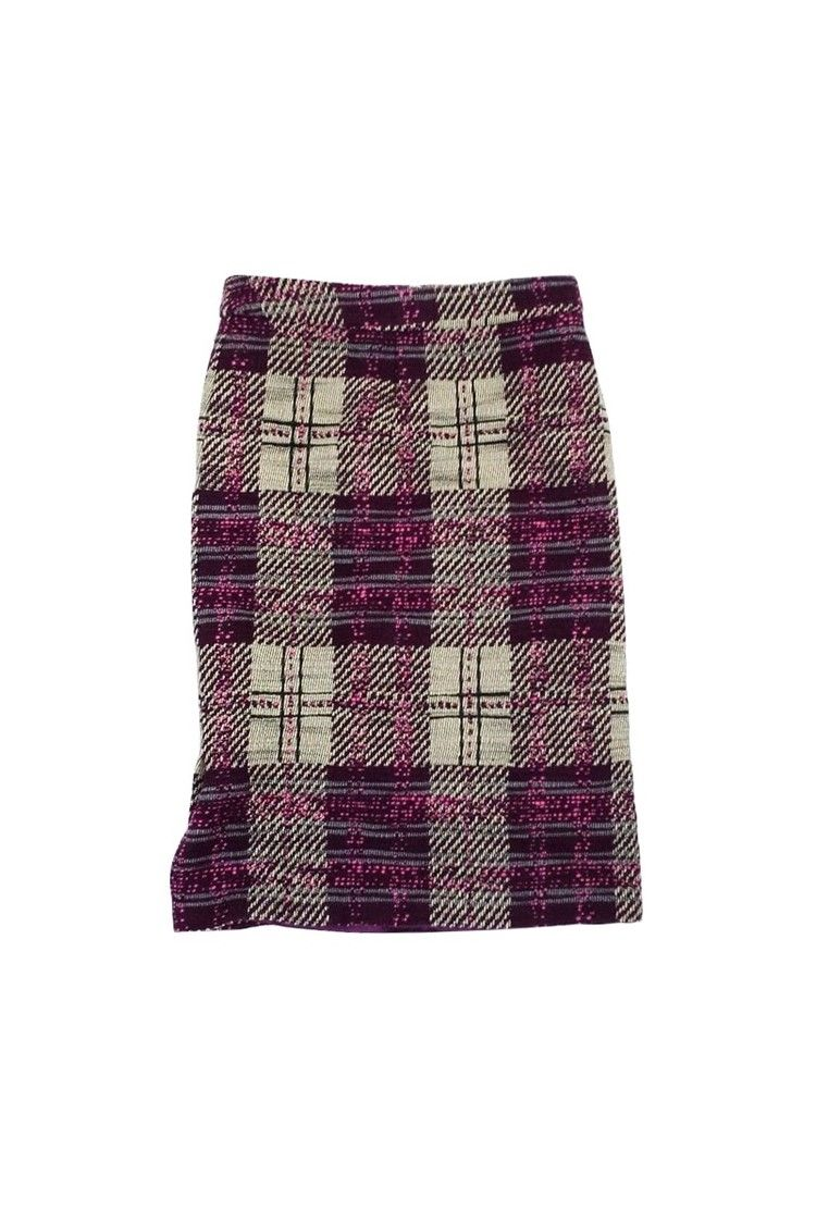7a634cc8f7 Tracy Reese- Purple, Cream, & Pink Tweed Plaid Skirt Sz 4 | Current Boutique