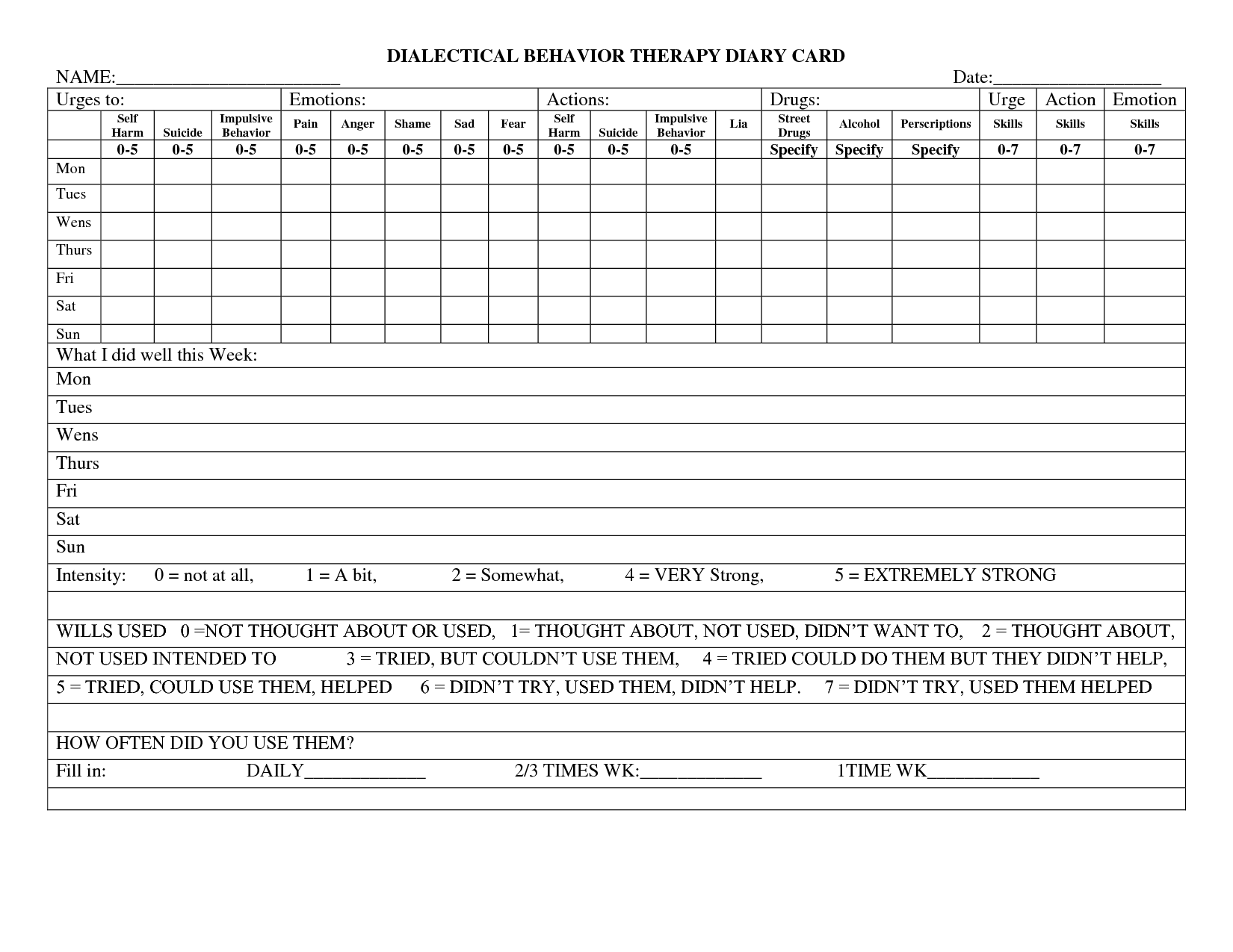 Uncategorized Dialectical Behavior Therapy Worksheets dialectical behavior therapy diary card counseling pinterest worksheet is women mental health see more therapy