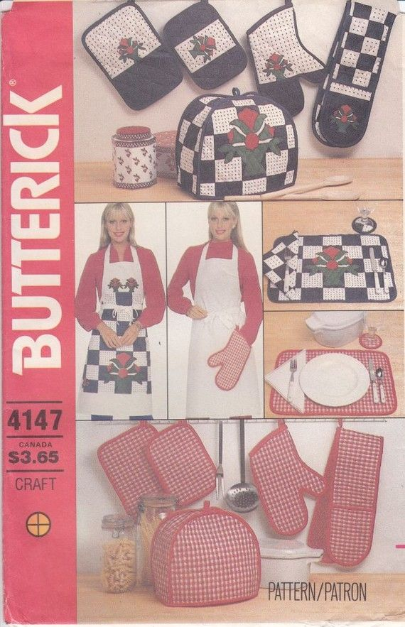 Apron Sewing Pattern - Butterick 4146 Uncut - Potholder, Placemats ...