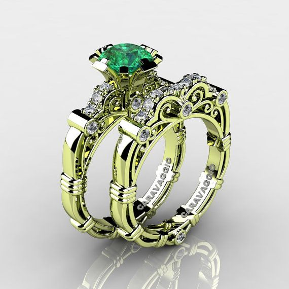 Art Masters Caravaggio 18K Green Gold 1.0 Ct Emerald by artmasters, $2199.00