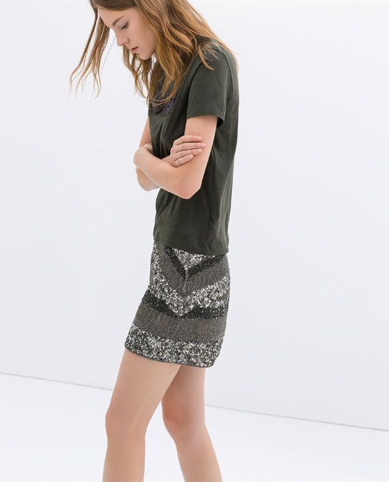 Immagine 4 di GONNA RICAMO PAILLETTES di Zara