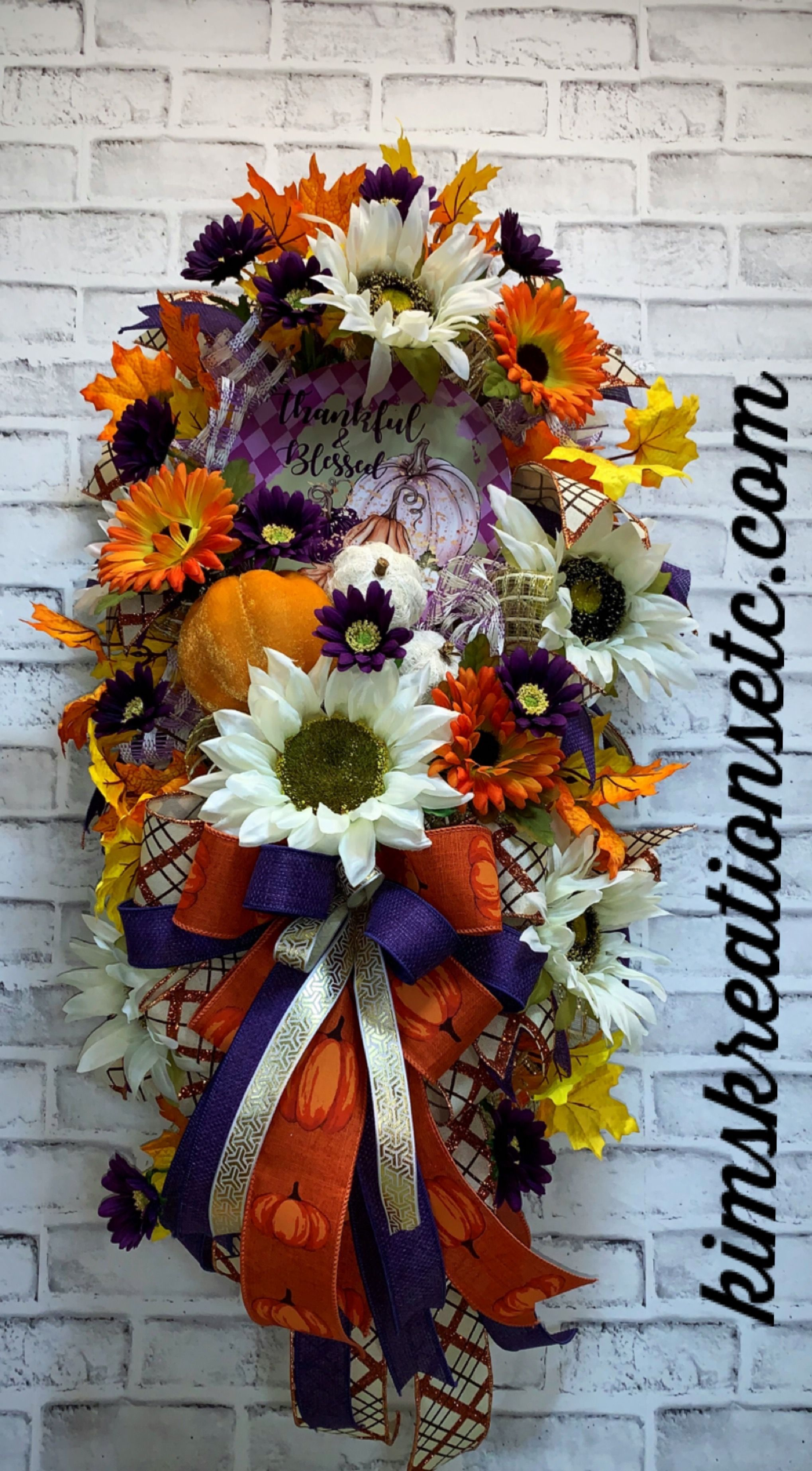 Fall Swag, FREE SHIPPING, Fall Door Swag, Purple for Fall, Fall Door Wreath, Front Door Swag, Fall Decor, Thankful and Blessed, Sunflowers, Fall Pumpkins, Home Decor, Wreaths for Sale