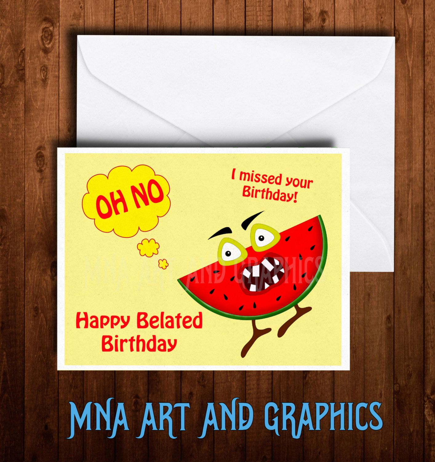 Belated birthday cards birthday cards funny fruit card belated birthday cards birthday cards funny fruit card watermelon birthday melon birthday kristyandbryce Images