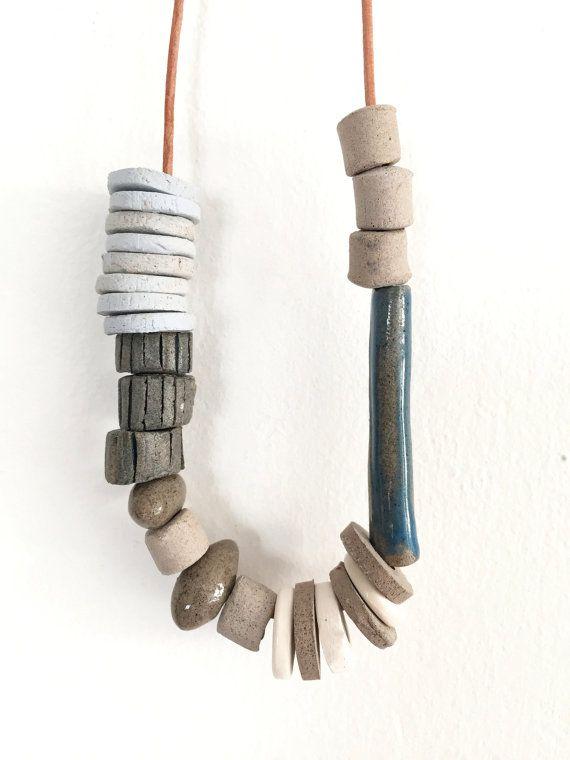 Statement necklace, Handmade ceramic jewelry,Blue tones,Boho jewelry ,Porcelain Jewelry, One of a kind