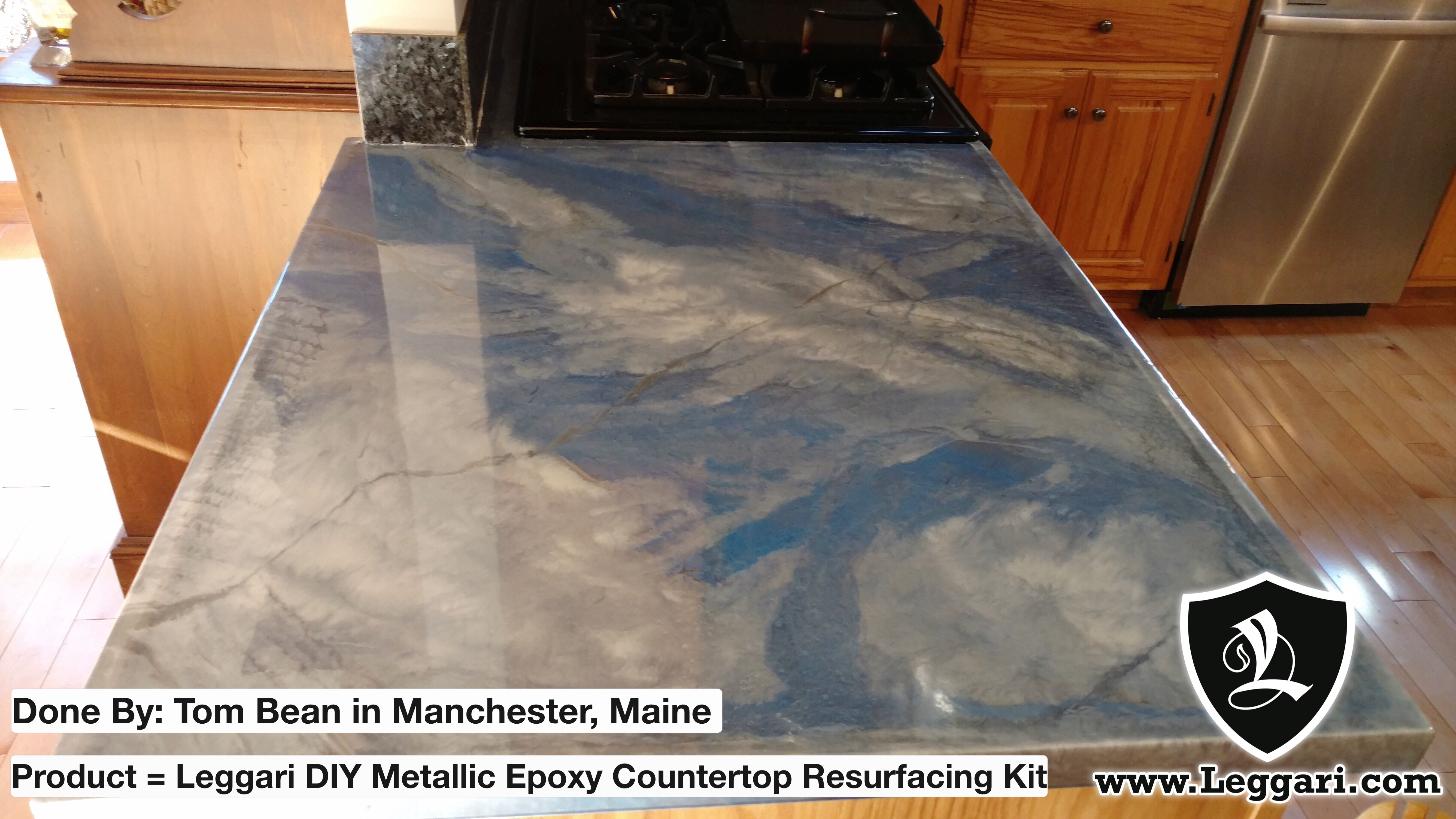 Beautiful Countertops Silver Base With Pearl White Light Blue