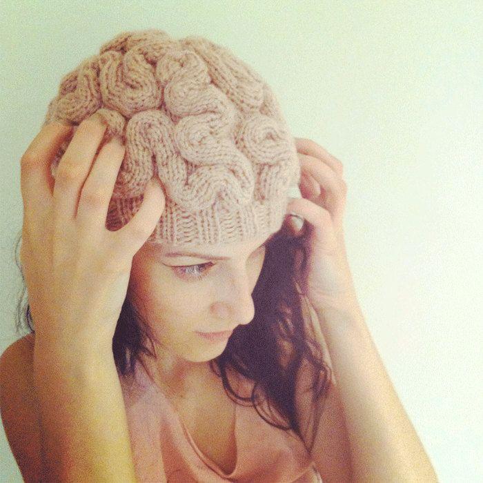 9334897fad5 ANNABANANNA Made to ORDER Knitted BRAIN Beanie hat evil scary weird cap  skullcap pink zombie brains halloween.  80.00