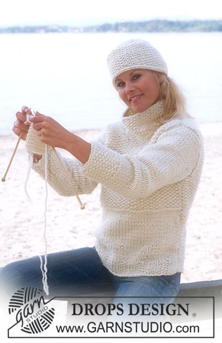 DROPS 76-4 - DROPS pullover with seed stitch and hat in \