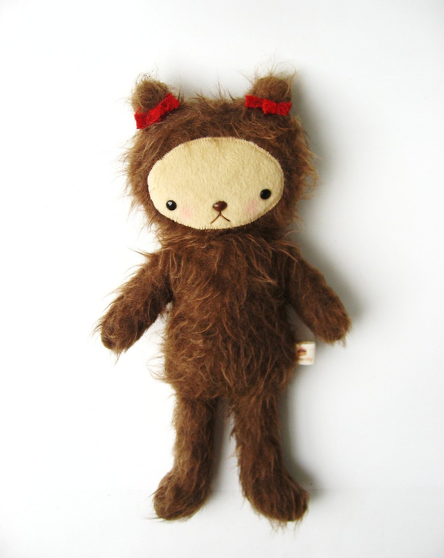 Teddy Bear Plushie Rustic Kawaii Style Shaggy Brown Fur Small RUBY