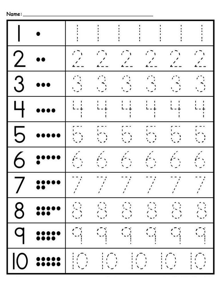 Traceable Numbers 1-10 - Kids Learning Activity Kindergarten Math  Worksheets, Preschool Tracing, Tracing Worksheets Preschool