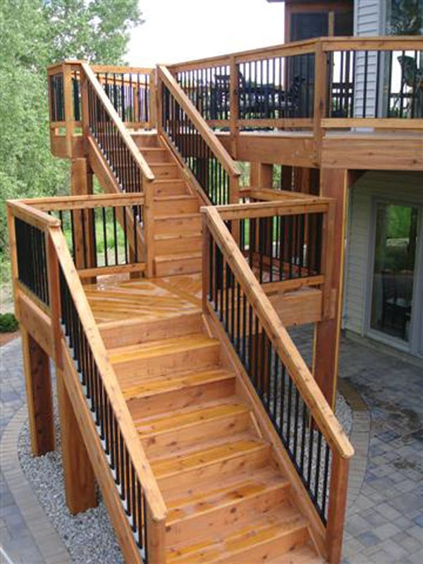High deck with long staircase with landing. Like this concept for our back door stairs, from the landing down.
