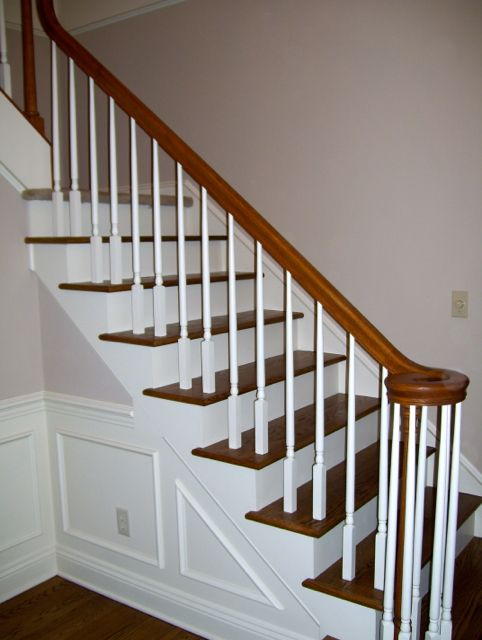 Best White Spindles With Cherry Stained Handrail Wood 400 x 300