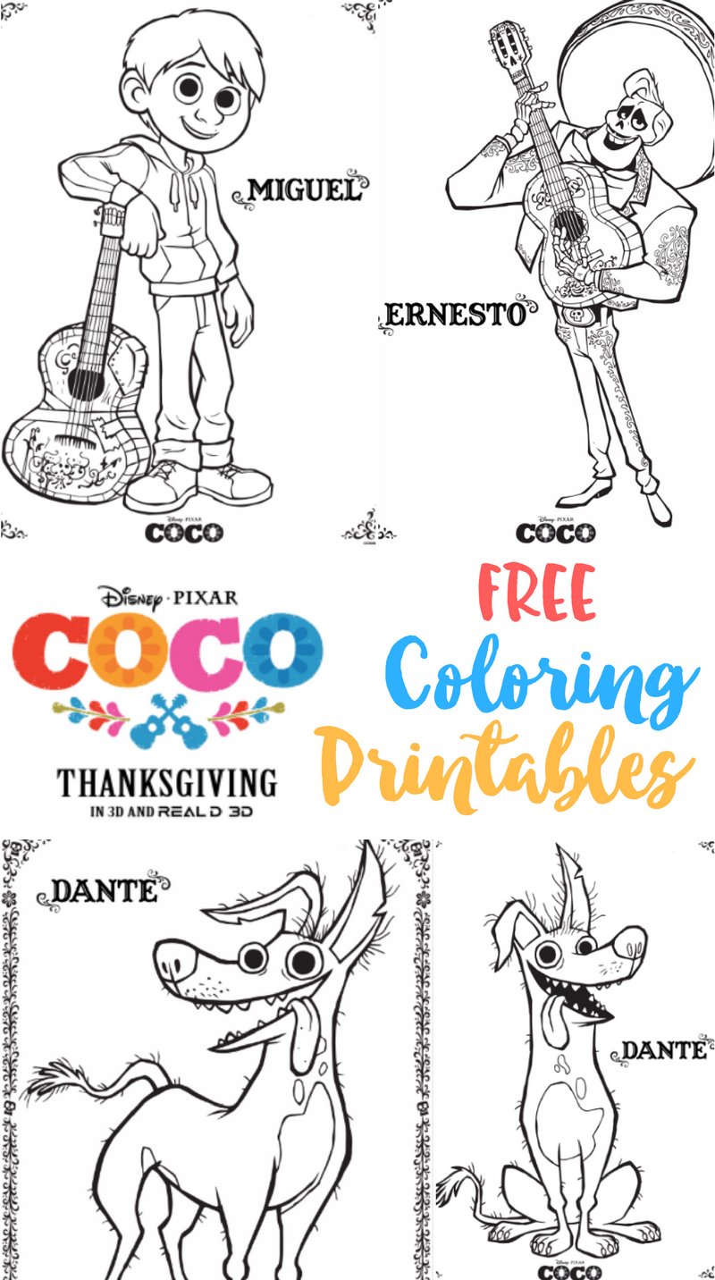 Coco Free Printable Coloring Sheets