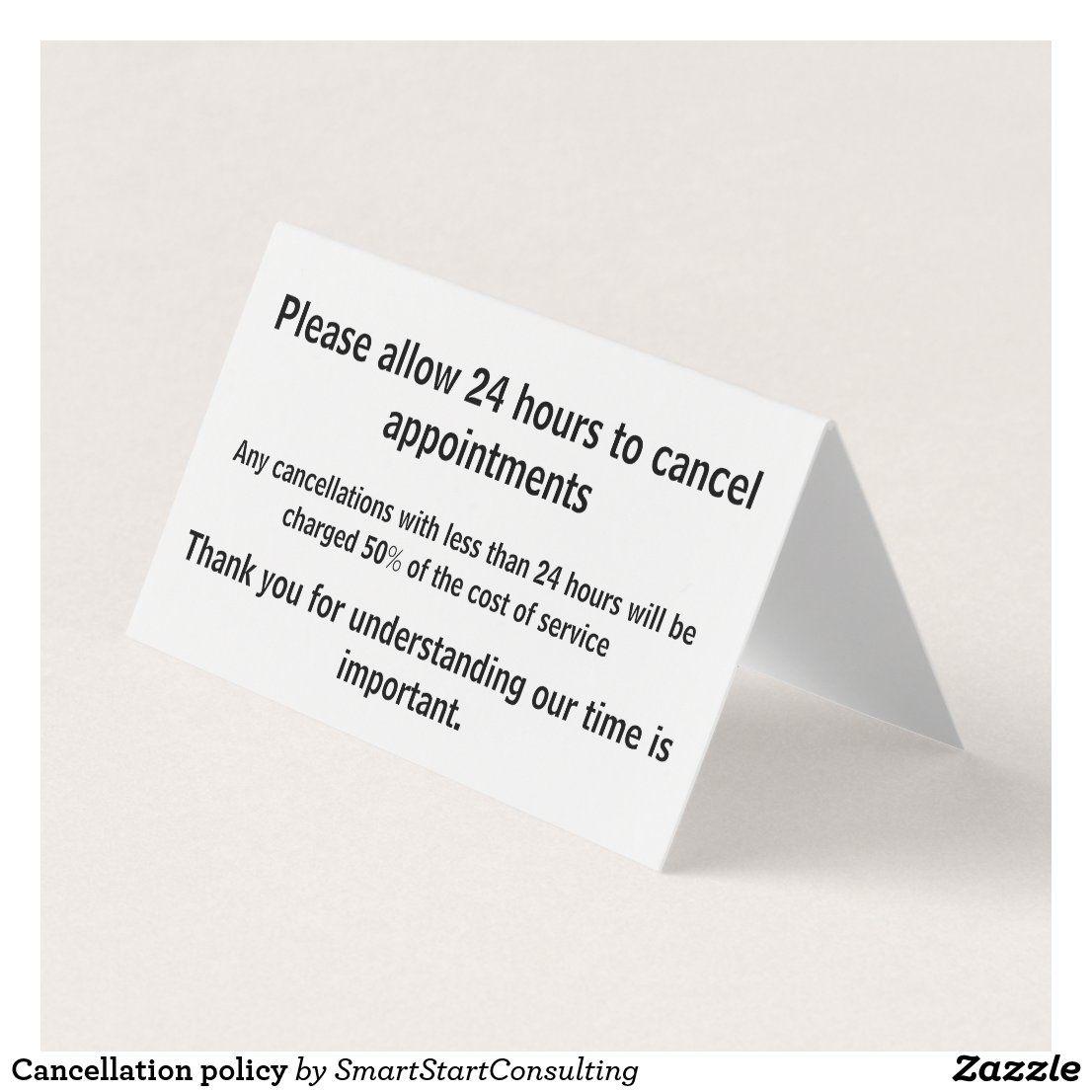 Cancelation Policy Business Card Zazzle Com Folded Business Cards Business Cards Folded Cards