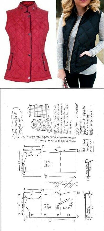Vest guilted...<3 Deniz <3   Sewing   Pinterest   Costura, Molde y ...