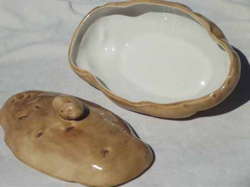 images of handmade ceramic covered dishes | Handmade ceramic baked potato bowl, 70s vintage potato dish w/ sauce ...