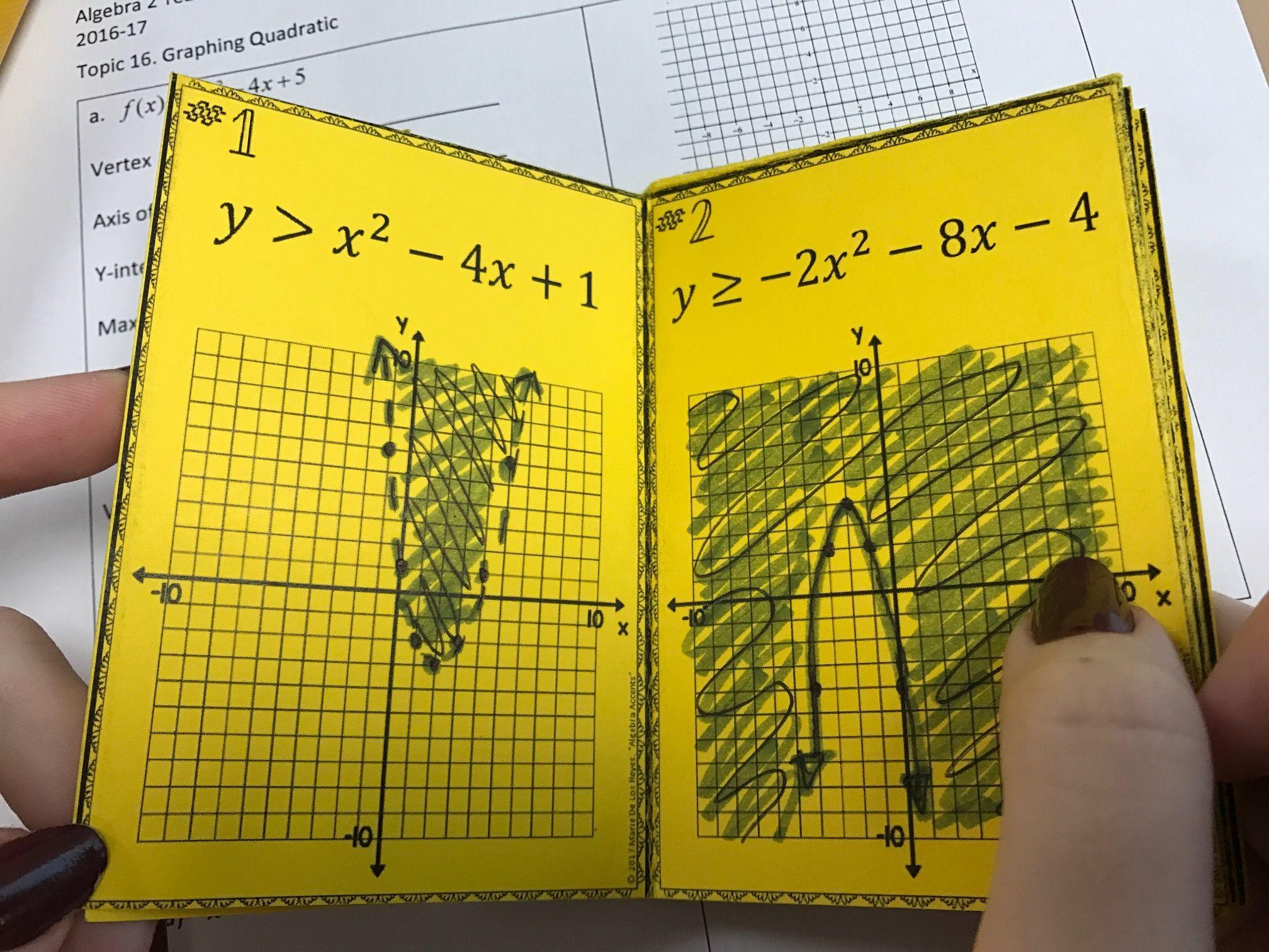 Graphing Quadratic Inequalities Independent Practice