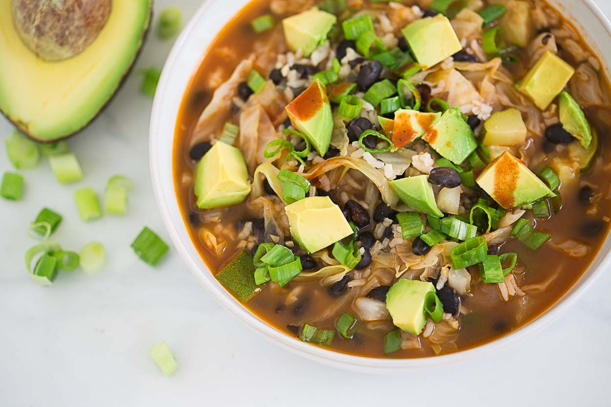 Black Bean and Rice Soup by Cook Smarts.  No avocado, and switch sour cream with greek yogurt.
