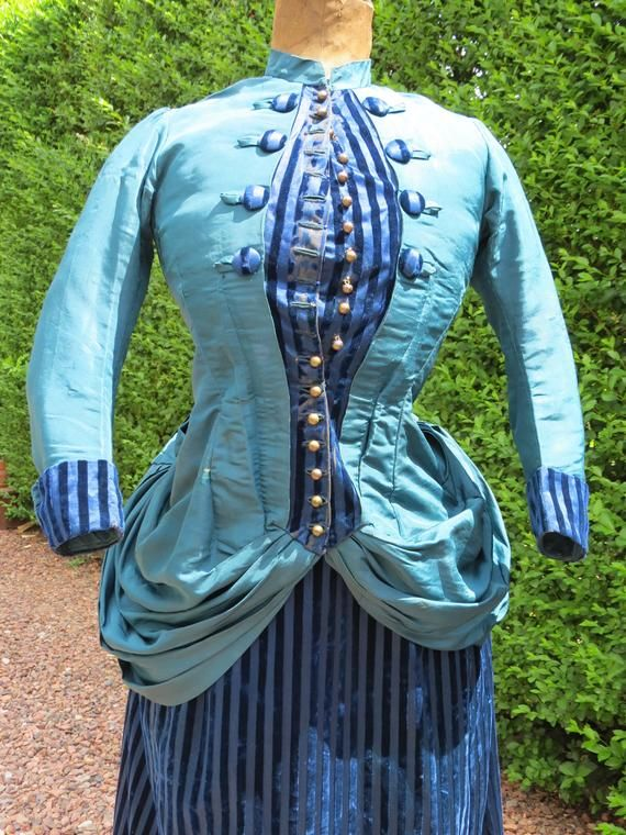 Fabulous Victorian blue and teal silk bustle promenade day dress 1885