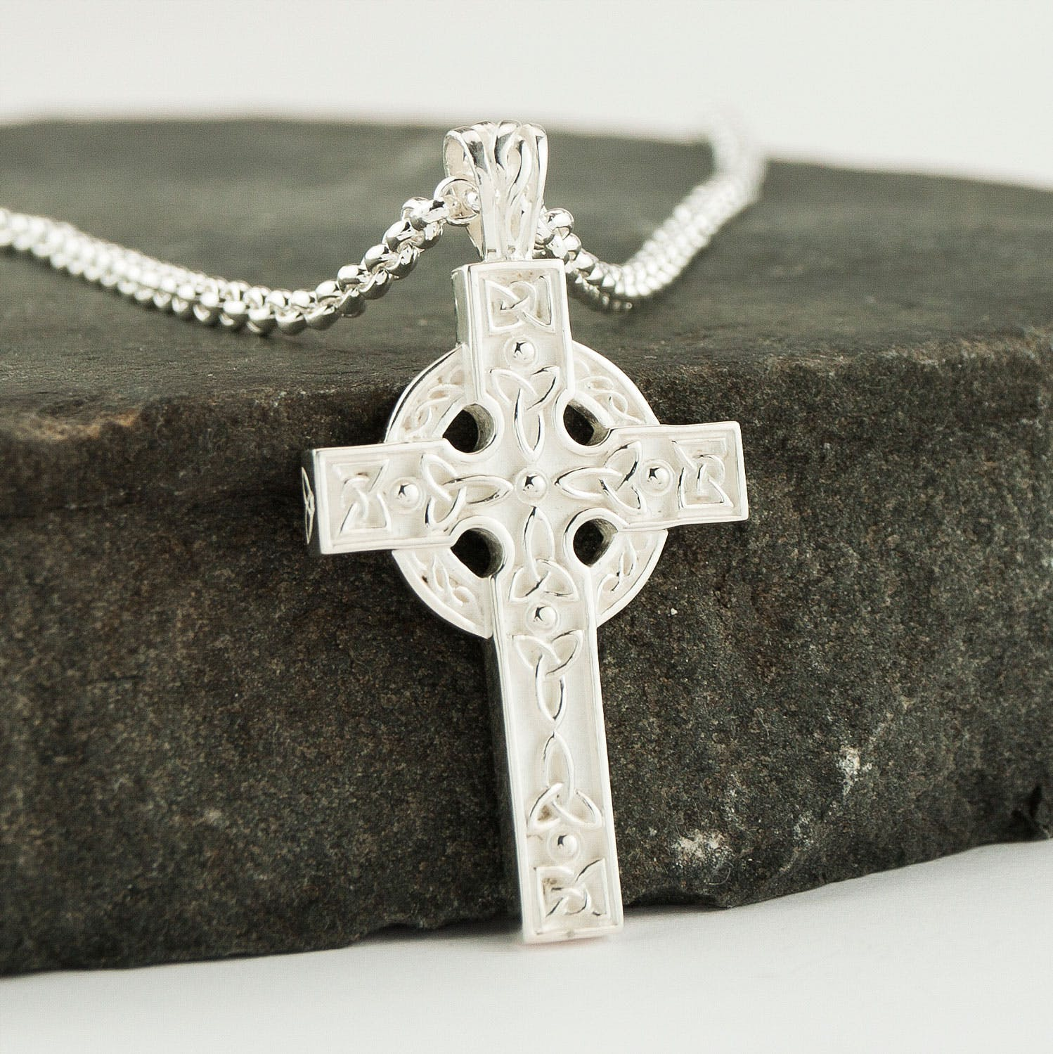 Silver Heavy Celtic Cross Necklace with Trinity Knot