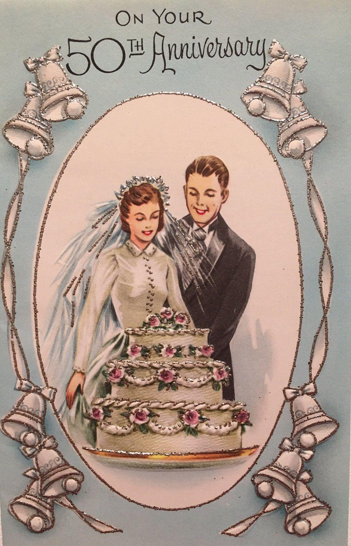 Vintage 50th Anniversary Card Golden Anniversary Mid Century Wedding Bells Vintage Cards 50th Anniversary Cards Vintage Greeting Cards