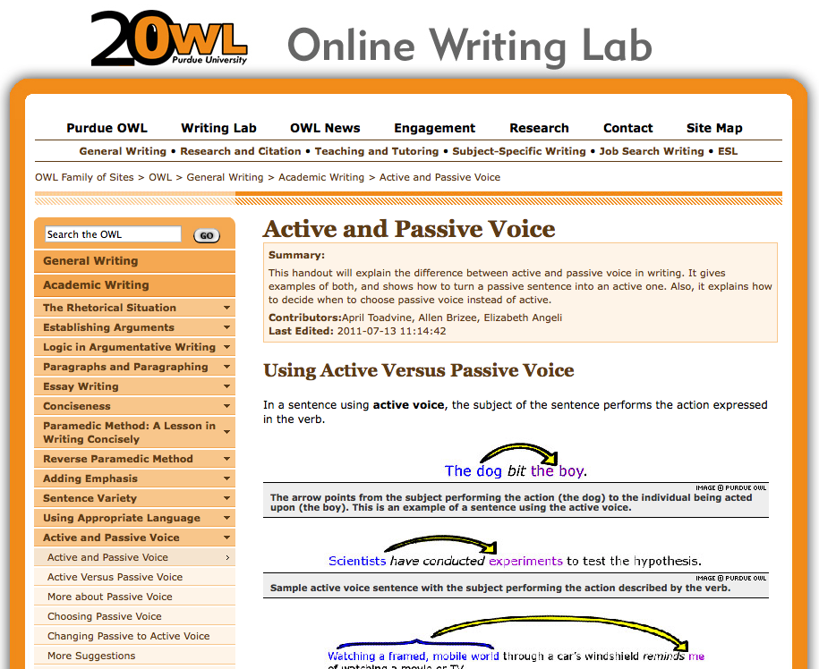 Use active voice for instructional narration. | Purdue Owl- Online ...