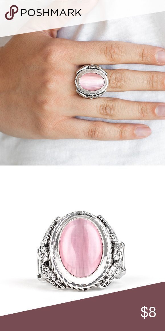 Deep Freeze Pink A pink cat's eye stone is pressed into